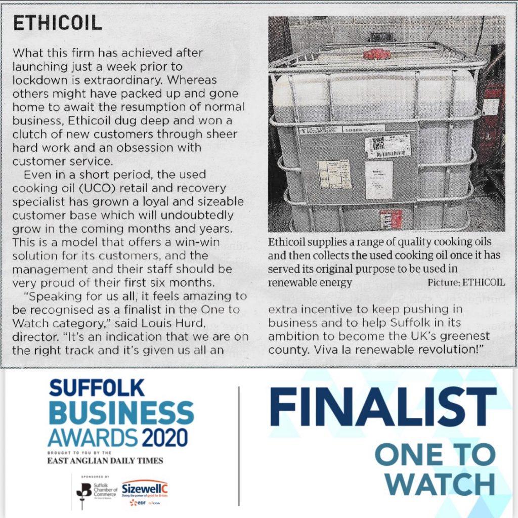 Ethicoil Suffolk Business Awards Finalist